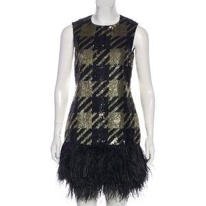 Michael Kors Silk Sequin Feather Trim Dress $6395